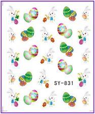 Nail Art Pegatinas Calcomanías de agua transfiere Easter Bunny Conejo huevos de pollo (831)