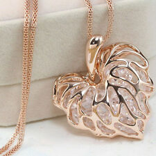 Statement Chain Pendant Necklace Jewelry Fashion Women Gold Plated Heart Bib