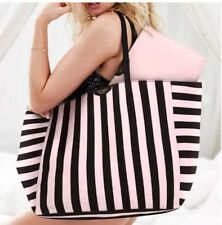New VICTORIA'S SECRET LIMITED EDITION PINK STRIPE TRAVEL LARGE TOTE COSMETIC BAG