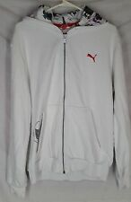 Puma L Hoodie white long sleeve Ace Spades zipper front mens