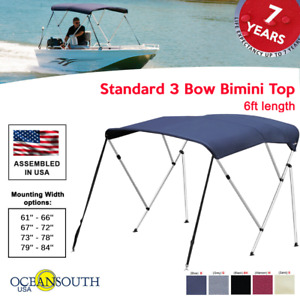 Oceansouth Standard BIMINI TOP 3 Bow Boat Cover 6ft Long With Rear Poles