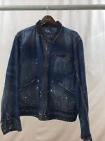 POLO RALPH LAUREN VINTAGE Denim jacket Zipper XL Corduroy Collar Paint Splatter