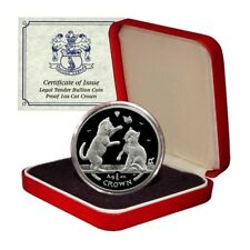 Isle of Man Tonkinese Cat Kittens 1 Crown 2004 1 Oz Proof .999 Silver Box/Coa
