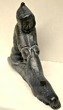 Inuit Stone Carving of Man and Seal by Josephie Nalukturuk E91735