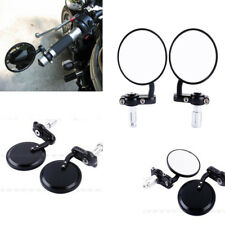 "1 Pair Aluminum Round Side Mirrors Rearview 7/8"" Bar End Motorcycle Motorbike UK"