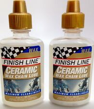 2 PACK FINISH LINE CERAMIC WAX LUBE BIKE BICYCLE CHAIN LUBE 2oz. TWO BOTTLES NEW