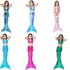 3Pcs Girls Cosplay Mermaid Tail Swimwear Bikini Sets Swimming Kids Swim Suit