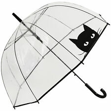 Clear See-through Dome Umbrella - Black Cat