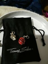 Thomas Sabo Sterling Silver 3D Red Rose & Skull charms & Thomas Sabo Gift Pouch