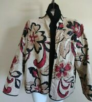 Alfred Dunner Blazer Jacket Size 18 Tan/Red/Blk Quilted Long Sleeve Open Front
