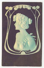 1907 EXTREME ART NOUVEAU EMBOSSED PRETTY LADY POSTCARD * NOW ON SALE *PC5415