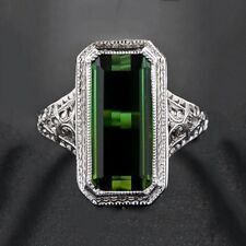 Huge White Topaz &Emerald 925 Silver Jewelry Wedding Engagement Ring Size 6-10