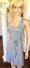 Lole New L Sophie Dress Heather Gray Tie-Waist Knit Belted Summer Dress $80 NWT