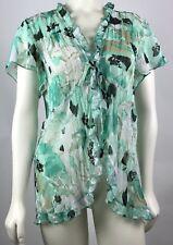 Dressbarn Women's Semi Sheer Blouse Large Ruffled Green Flutter Sleeve Front Tie
