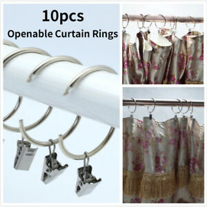 10 X Metal Openable Curtain Rings Clamps Rustproof Bath Curtain Rods Hangers
