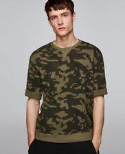 Zara Man New Genuide Army Waffle Knit Sweatshirt 100% Cotton Size M 40