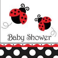 16 Baby Shower Party Napkins, Ladbybug Theme-Baby Shower Parties Tableware