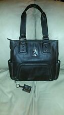 Tignanello Pebbled Leather Zip -Top Organizer Tote w/Key Fob ~ Chocolate