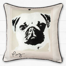 Catherine Lansfield Cute PUG Dog Cushion Cover Piped Edging 43x43cm FREE P&P!!!