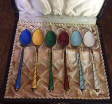 Vintage Ela Denmark Sterling Silver & Enamel Set of 6 Demitasse Spoons In Box