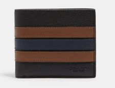 NEW Coach Men's 3-In-1 Wallet In Refined Pebble Leather With Varsity Stripe