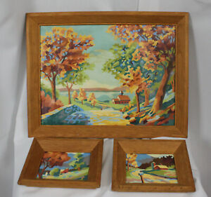 Set of 3 Vtg Paint by Number Paintings PBN Woods Church Bridge Fall Autumn MCM