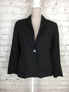 Womens BHS Black Button Front Smart Suit Blazer Jacket Size 14 Petite