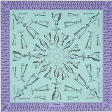 NEW in Box Baccarat Harcourt Crystal Print Silk Twill Scarf Celadon Green
