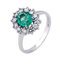 White Gold Ring 750 °/°° with Natural Diamonds And Emerald Natural Colombia