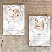 BIRTHDAY INVITATIONS BLANK ROSE GOLD MARBLE BALLOON EFFECT 18TH 21st PACKS OF 10