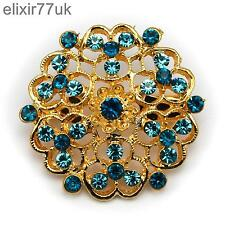 NEW GOLD FLOWER BOUQUET BROOCH BLUE DIAMANTE CRYSTAL WEDDING PARTY BRIDAL BROACH