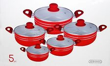 5pc Ceramic Coated Non Stick Die-Cast Casserole Set INDUCTION Cookware RED -R