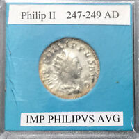 Ancient Roman Silver Coin, Philip II 247-249 AD Pax Aeterna on reverse (47786)