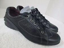 ECCO Black Leather Fashion Sneakers Size 40/9-9.5 U.S. Made in Thailand
