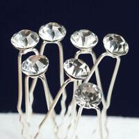 20pcs Crystal Diamond Diamante Wedding Bridal Party Hair Prom Pins Clips I6 T0T9