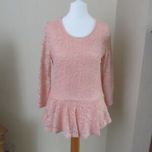 Amisu Pink Lace Tunic Top size Eu L Immaculate