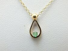 """14k Yellow Gold Emerald Pendant with 16"""" Fine Chain Necklace Set Gift Box"""