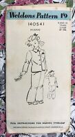 """1940's Sewing Pattern Weldons 140541 Childs Pyjamas Age 9-10 Chest 27"""" Vintage"""