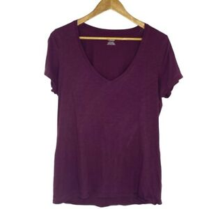 Victoria's Secret PINK Purple Short Sleeve Slub V-Neck Tee T-Shirt Size Large