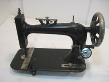 PF OLD  CAST IRON TREDDLE SEWING MACHINE OAK WOOD PRACTIAL FARMER