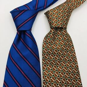 Brooks Brothers Silk Neck Ties Blue and Gold Geometric Pattern NWOT