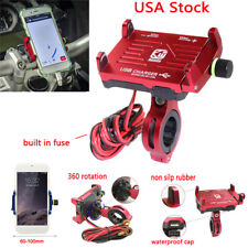 US Red Cell Phone Holder USB Charger for Kawasaki Touring Curiser Sport bike