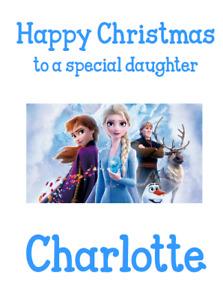PERSONALISED GREETINGS CARD CHRISTMAS XMAS DISNEY FROZEN II ELSA ANA OLAF