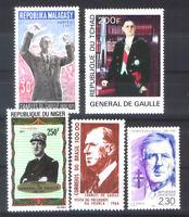 President of France Charles de Gaulle - 5 stamps - MNH