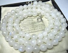 Vintage Jewellery Natural Rainbow Moonstone Stone BEAD Sterling Silver NECKLACE
