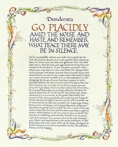 DESIDERATA GO PLACIDLY AMID THE HASTE AND THE NOISE POEM METAL PLAQUE SIGN R224