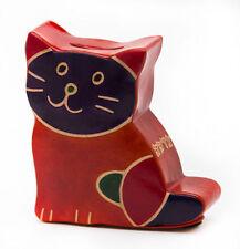 Tzedakah Box - Cashbah Kitty Katz Tzedakah - Hand Made Colorful Leather