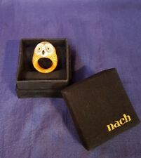 Nach Porcelain Owl Ring Size M