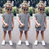 Toddler Baby Kids Girls Casual Skirt Short Sleeve Party Striped Princess Dresses