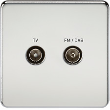 SCREWLESS SCREENED DIPLEX OUTLET (TV & FM DAB) - POLISHED CHROME